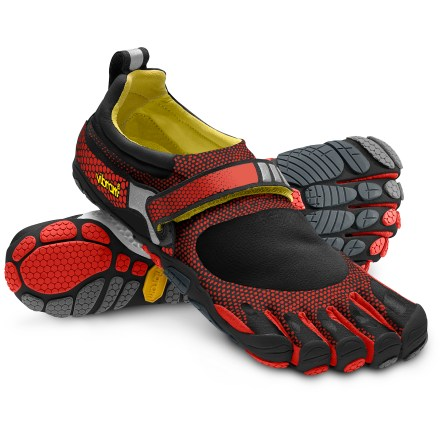 Fitness Vibram FiveFingers Bikila running shoes are designed specifically for a more natural running experience, offering barefooted feel and efficiency with the protection and traction of a Vibram sole. Thin, abrasion-resistant polyamide stretch fabric fits low on feet and offers quick-drying comfort; breathable stretch-mesh panels keep debris and grit out. Individual toe slots enhance dexterity, control and stability to deliver a natural running motion; thermoplastic urethane toe bumpers supply enhanced protection. Instep straps secure with a rip-and-stick closure to provide a secure, supportive fit; padded collars up the comfort level. AEGIS Microbe Shield(R) antibacterial treatment helps deter odors. Dri-lex(R) moisture-wicking nylon covers a 3mm polyurethane insole to provide comfort and cushioning underfoot, especially under the ball of the foot. 4mm Vibram outsoles feature anatomically contoured traction pods that follow the contours of your feet and toes; made of nonmarking Vibram TC1 performance rubber. 3M(R) reflective hits increase your visibility low light. Recommended for running, fitness training and light trekking. In order to allow your feet to adapt to using different muscles, gradually increase usage of these shoes. Machine washable in cold water; air dry only, away from sun or heat source. To determine size, stand with heels against a wall and measure from the wall to the tip of the longest toe on each foot; use the longer of the 2 lengths with the size chart. - $44.83