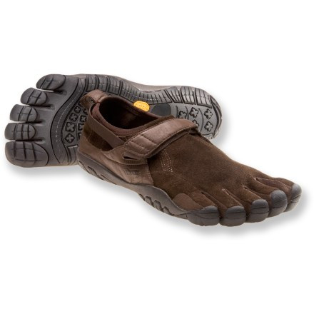 Fitness Vibram FiveFingers KSO Trek multisport shoes are a stout version of the classic KSO design, featuring leather uppers, cushy midsoles and lightly lugged outsoles. Sturdy kangaroo leather uppers are luxuriously soft against bare feet, highly breathable and tear-resistant; full foot coverage helps keep stuff out. Individual toe slots enhance dexterity, control and stability to deliver a natural walking motion. Instep straps secure with rip-and-stick closures and are attached to thin straps that wrap around heels to provide a secure, supportive fit. AEGIS Microbe Shield(R) antibacterial treatment to helps control odors. 4mm EVA midsoles help provide light cushioning underfoot. Lightly lugged 4mm Vibram soles are designed to follow the contours of your feet and toes; made of nonmarking Vibram TC1 performance rubber. Recommended for light trekking, trail running, fitness walking and travel. In order to allow your feet to adapt to using different muscles, gradually increase usage of these shoes. Machine washable in cold water; air dry only, away from sun or heat source. To determine size, stand with heels against a wall and measure from the wall to the tip of the longest toe on each foot; use the longer of the 2 lengths with the size chart. - $30.83
