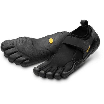 Fitness Great for water or chilly climes, Vibram FiveFingers Flow men's multisport shoes feature neoprene uppers and sticky rubber soles for excellent warmth and grip. 2mm neoprene uppers provide light insulation and protection and help keep stuff out; instep and heel straps secure with rip-and-stick closures to provide a secure fit. Individual toe slots separate and encourage strengthening of toes and can enhance balance, agility and range of motion to deliver a natural walking motion. AEGIS Microbe Shield(R) antimicrobial treatment to helps deter odors. 2mm EVA footbeds/midsoles help provide light cushioning as well as enhance thermal insulation and protection underfoot. Vibram IdroGrip performance rubber soles are highly slip-resistant, though the rubber is a marking compound; razor siped for sure grip on wet and slippery surfaces. Recommended for cold weather running, light trekking, climbing/bouldering and water sports. To allow your feet to adapt to using different muscles, begin use of these shoes gradually and increase over time. Vibram FiveFingers Flow multisport shoes are machine washable in cold water; air dry only. To determine size, stand with heels against a wall and measure from the wall to the tip of the longest toe on each foot; use the longer of the 2 lengths with the size chart. - $21.83