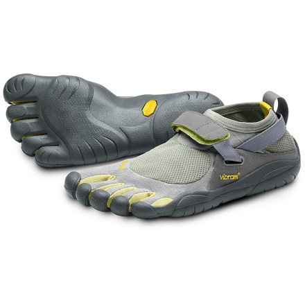 Fitness The Vibram FiveFingers KSO multisport shoes offer the freedom of bare feet with the grip and protection of a Vibram sole. Individual toe slots enhance dexterity, control and stability to deliver a natural walking motion. Thin, abrasion-resistant polyamide stretch fabric fits low on feet and offers quick-drying comfort; breathable stretch-mesh panels keep debris and grit out. Instep straps secure with rip-and-stick closures and are attached to thin webbing straps that wrap around heels to provide a secure, supportive fit. Footbeds feature AEGIS Microbe Shield(R) antibacterial treatment to help control odors. 2mm EVA midsoles help provide light cushioning underfoot. Vibram soles are designed to follow the contours of your feet and toes; made of nonmarking Vibram TC1 performance rubber. Razor siping on soles provides sure grip on wet and slippery surfaces. Recommended for light trekking, climbing, canyoneering, running, fitness training, travel and most water sports. May help you feel an increased sense of balance, expanded range of motion and improved posture. In order to allow your feet to adapt to using different muscles, gradually increase usage of these shoes. Machine washable in cold water; air dry only. To determine size, stand with heels against a wall and measure from the wall to the tip of the longest toe; use the longest toe length in conjunction with the size chart. Overstock. - $29.93