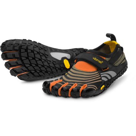 Camp and Hike Eager for trails, the Vibram FiveFingers Spyridon trail-running shoes deliver aggressive traction with light, formfitting and highly breathable uppers for great minimalist performance. - $54.83