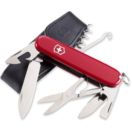 Camp and Hike The Swiss Army Climber knife with pouch is a compact pocket knife with a selection of 10 useful tools. - $34.00