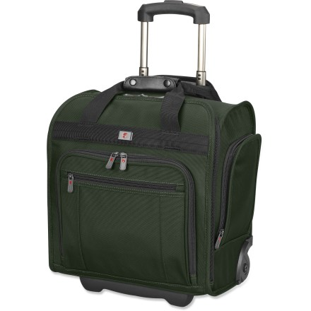 Entertainment The Victorinox NXT 5.0 Wheeled Eurotote luggage offers enough room for a weekend away, and is sized perfectly for carrying on a plane. Ballistic nylon construction is durable, lightweight and water resistant. Durable aircraft-grade aluminum handle features comfort grip for easy transport. Spacious main compartment features a mesh pocket for organizing essentials. Front pocket features individual interior pockets to keep sunglasses, keys and other accessories organized. Zippered end pockets stash your phone, MP3 player and a snack. Victorinox NXT 5.0 Wheeled Eurotote comes with a Travel Sentry(R) Approved lock. Please note: most airlines allow carry-on baggage not exceeding 45 linear inches (L+W+H). This is subject to change, so check your airline for actual size restrictions. Closeout. - $149.73