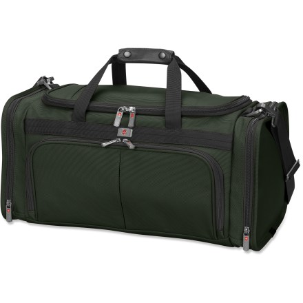 Camp and Hike The Victorinox NXT 5.0 Footlocker duffel bag serves is perfect for quick escapes, and can be used as a carry-on bag for your flights. Ballistic nylon construction is durable, lightweight and water resistant. Large opening allows easy access to main compartment. Interior zippered and mesh pockets keep your accessories organized. Front pocket features individual interior pockets to keep keys and travel documents organized. Large end pockets on the Victorinox NXT 5.0 Footlocker stash your shoes or laundry. Removable, adjustable, padded shoulder strap. This item meets carry-on size restrictions for most airlines (size not to exceed 45 linear inches when adding L+W+H; this is subject to change, so check with your airline). Closeout. - $119.73