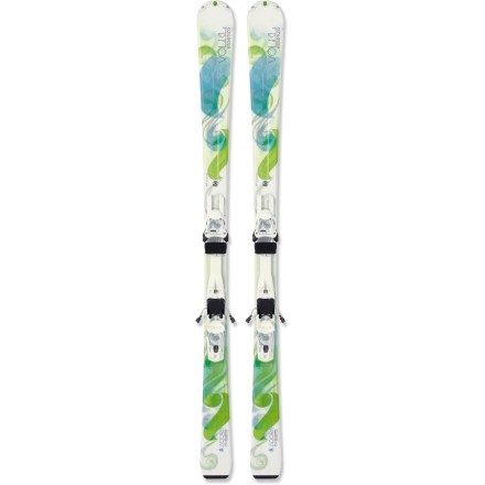 Ski With the Volkl Adora skis with bindings, brand-new skiers will learn to love linking turns on all types of terrain. Go on, the mountain is waiting for you! Volkl Adora skis really excel on the groomed runs, but they are responsive enough for off-piste adventures when you're ready. 73mm waist gives recreational skiers quick turning ability on hardpack yet is wide enough to keep them atop soft snow and crud. Composite core creates a soft, easy flex that gives progressing skiers the confidence they need to improve their skills. Women-specific sidecut, designed to optimize the ski's flexed shape, contacts snow with an even pressure that yields incredibly smooth turns. Wide, stiff tips and narrow, soft tails enhance the natural motions of female skiers, ease turn initiation and conserve energy. Slight rise in the tips makes it easy to turn and offers forgiving stability in crud, and thin width in the tails creates better turns with less effort. Slightly rockered tips add ease, smoothness and maneuverability to what are already unusually responsive skis. 3Motion 10.0 bindings work in conjunction with the specialized construction to create superb edge hold and uniform ski flex underfoot. Integrated binding systems allow the skis to flex naturally and fully from tips to tails for smooth turn initiation, hold and release. Binding placement sets stance 1cm forward to account for a woman's center of gravity and ease turning; stance can be adjusted by a qualified ski technician. Women-specific, Bio-Logic stance raises the toe of the binding to reduces strain on the skier's legs during turns. DIN range is 3 - 10. Base or topsheet color may vary from online photo. - $299.83