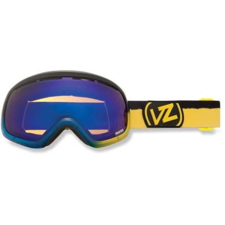 Ski Ready for liftoff? The Von Zipper Skylab snow goggles have got your optical needs dialed, delivering limited edition colors and a wide field of vision so you can stay focused on the post-launch prize. Ergonomically designed injection-molded thermoplyurethane frame offers up a comfortable, flexible fit. Dual polycarbonate spherical lenses minimize distortion and offer extended peripheral vision for a wide field of vision. Antifog coating helps keep your optics clear and precise; hardened surface resists scratches. Low-profile lens vents help control airflow and prevent fogging. Triple-density face foam is topped with soft fleece to offer sublime next-to-skin comfort and a snug face interface. Boonanny Blue/Yellow frame comes with bronze-tinted Astro Chrome lens for great performance in sunny or partly cloudy conditions; allows 30% visible light transmission (VLT). Solar Burst Orange/Pink frame comes with Fire Chrome orange-tinted lens that performs optimally in sunny or partly cloudy conditions; allows 17% VLT. The Von Zipper Skylab goggles have a dual adjustable strap and helmet-compatible design for a comfortable, personalized and precise fit. - $52.83