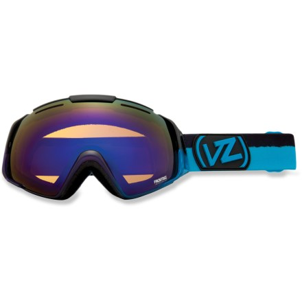 "Ski Massive and modifiable, the Von Zipper El Kabong snow goggles deliver a huge field of vision and an easy lens swapping design to ensure your optical needs on the mountain are met. Ergonomic ""frameless"" frame design maximizes the visible area across the lens and minimizes frame interference with your view. Interchangeable lens system makes it easy to swap lenses to meet conditions (additional lenses sold separately). Oversize, dual polycarbonate spherical lenses maximize your field of vision and offer crisp, clear optics with minimal distortion. Antifog coating helps keep your optics clear and precise; hardened surface resists scratches. Minimalist lens vents help control airflow and combat fogging. Triple-density face foam is topped with soft fleece to offer sublime next-to-skin comfort and a snug face interface. Bubblegum Plum frame comes with bronze-tinted Astro Chrome lens, which performs great in sunny or partly cloudy conditions; allows 30% visible light transmission (VLT). Pucker Up frame comes with Quasar Chrome lens, which offers a bronze tint and 23% VLT for cloudy to overcast conditions. Von Zipper El Kabong goggles have a dual adjustable strap and helmet-compatible design for a comfortable, personalized and precise fit. - $98.83"