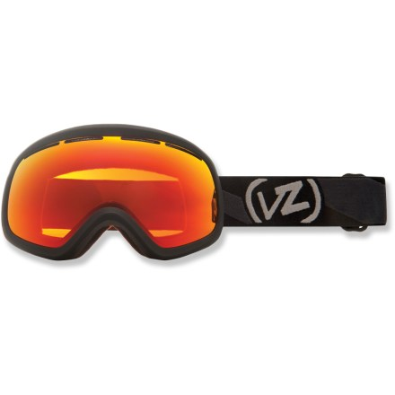 "Ski The Von Zipper El Kabong Asian Fit snow goggles boast an interchangeable lens system, massive field of vision and precise optics, all with a tuned fit, for unabashed performance. Ergonomic ""frameless"" frame design maximizes the visible area across the lens and minimizes frame interference with your view. Interchangeable lens system makes it easy to swap lenses to meet conditions (additional lenses sold separately). Oversize, dual polycarbonate spherical lenses are designed to maximize your field of vision and offer crisp, clear optics with minimal distortion. Antifog coating helps keep your optics clear and precise; hardened surface resists scratches. Minimalist lens vents help control airflow and combat fogging. Triple-density face foam is topped with soft fleece to offer sublime next-to-skin comfort and a snug face interface. Fire Chrome lens offers an orange tint and a distinct mirror finish for great performance in sunny or partly cloudy conditions; allows 17% visible light transmission. Goggles have a dual adjustable strap and helmet-compatible design for a comfortable, personalized and precise fit. Von Zipper El Kabong Asian Fit snow goggles feature an extra layer of face foam around the nose to offer a better fit for those with high cheekbones and low nose arches. - $98.83"