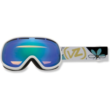 Ski Channel your pow-loving energy in these Von Zipper Chakra snow goggles, which offer a low-profile, minimalist design and a wide field of vision. Ergonomically designed injection-molded thermoplyurethane frame offers up a comfortable, flexible fit. Dual polycarbonate cylindrical lenses minimize distortion and offer extended peripheral vision for a wide field of vision. Antifog coating helps keep your optics clear and precise; hardened surface resists scratches. Low-profile lens vents help control airflow and prevent fogging. Triple-density face foam is topped with soft fleece to offer sublime next-to-skin comfort and a snug face interface. Ladyflower frame comes with Quasar Chrome lens, which offers a bronze tint and 40% visible light transmission (VLT) for cloudy to overcast conditions. White Gloss frame comes with bronze-tinted Gold Chrome lens that performs optimally in sunny or partly cloudy conditions; allows 16% VLT. Goggles have a dual adjustable strap and helmet-compatible design for a comfortable, personalized and precise fit. The Von Zipper Chakra women's snow goggles are sized for small to medium faces. - $79.93