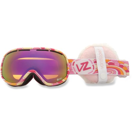 Ski The Von Zipper B4BC Chakra snow goggles boast a minimalist design and a widescreen-like view, plus the proceeds from the sales of these goggles go to Boarding for Breast Cancer (B4BC). B4BC is a youth-focused, nonprofit organization devoted to raising awareness of breast cancer, supporting early detection and educating on the value of an active lifestyle. Ergonomically designed injection-molded thermoplyurethane frame offers up a comfortable, flexible fit. Dual polycarbonate cylindrical lenses minimize distortion and offer extended peripheral vision for a wide field of vision. Antifog coating helps keep your optics clear and precise; hardened surface resists scratches. Low-profile lens vents help control airflow and prevent fogging. Triple-density face foam is topped with soft fleece to offer sublime next-to-skin comfort and a snug face interface. Bronze Pink Chrome lens offers a bronze tint and pink mirror for all-around performance in sunny to partly cloudy conditions; allows 25% visible light transmission. Goggles have a dual adjustable strap and helmet-compatible design for a comfortable, personalized and precise fit. The Von Zipper Chakra B4BC women's snow goggles are sized for small to medium faces. - $68.83