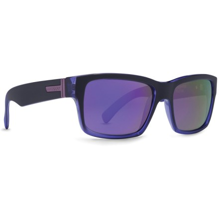 Entertainment Slip on these sharp looking VonZipper Fulton sunglasses for 100% UV protection and superb impact resistance. Grilamid(R) lightweight nylon frames offer a consistent fit and flexibility at any temperature, and they are impact resistant. Lightweight and virtually shatterproof, polycarbonate lenses are 20 times more impact resistant than glass and one-third the weight. Both frames come with gray-tinted lenses for true color perception in bright conditions. Rugged stainless-steel hinges boost durability. VonZipper Fulton sunglasses feature 6-base-curve lenses; (the higher the number the more curved the lens-VonZipper features sunglasses with 6, 8 and 9 base curvature). - $79.93