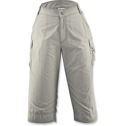 Camp and Hike The versatile White Sierra Crystal Cove Skimmer capri pants can handle any warm-weather outing. Moisture-wicking nylon fabric dries quickly. Fabric provides UPF 30 protection from harmful solar rays. Zippered fly with button closure for easy on; elastic sides for comfort. Side cargo pockets and hand pockets round out features. Special buy. - $21.73