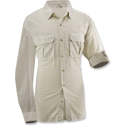 Entertainment This versatile White Sierra High Ridge Loop long-sleeve shirt can be dressed up for the office or dressed down for adventures on the trail. Polyester/cotton woven blend has a UPF rating of 30 to shield your skin from harmful ultraviolet rays. Fabric wicks moisture away to help keep you cool and dry. Roll-up sleeves with button tabs allow versatile styling. Garment dyed and prewashed for soft, worn-in look. Chest pockets on the White Sierra High Ridge Loop long-sleeve shirt secure with rip-and-stick closures. Special buy. - $36.93