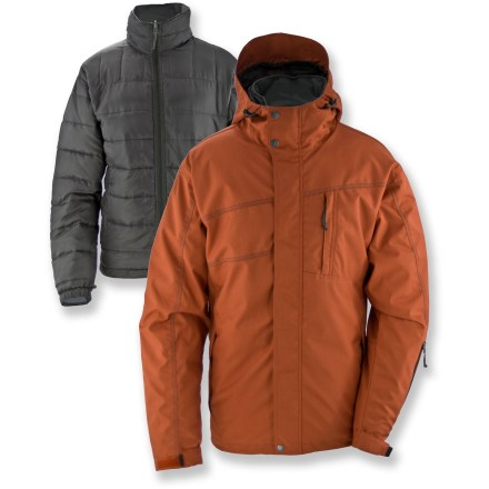 Snowboard The versatile White Sierra Mountain 3-in-1 jacket offers several layering options to handle everything from chilly December days to mild spring weather. Windproof, woven twill shell fabric features a waterproof breathable coating to keep the elements out. Zip-out liner with 80g synthetic insulation can be worn under shell jacket for warmth, or as a standalone piece. Hood shields you from the elements. Adjustable cuffs and drawcord hem seal in warmth. Zippered chest pocket and hand pockets; internal goggles stash and security pocket. Special buy. - $102.83