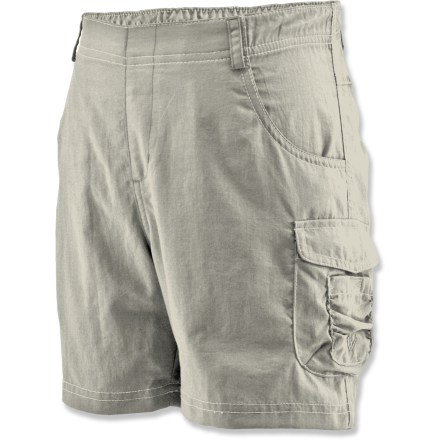 Entertainment The White Sierra River shorts easily transition from water-filled to landlocked adventures. Moisture-wicking and quick-drying nylon fabric is soft and comfortable. Fabric provides UPF 30 sun protection, shielding skin from harmful ultraviolet rays. Elastic waist for a great fit. Side cargo pocket with flap closure and hand pockets. Special buy. - $6.73