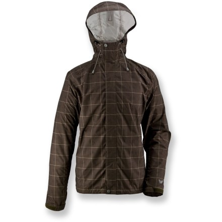 Entertainment The White Sierra Plaid Trabagon rain jacket keeps you dry when hustling between classes or trekking up the trail. Micro ripstop polyester has a waterproof, breathable coating to keep the rain out; seams are fully taped. Teflon(R) face-finish sheds water and stains. Hood features dual adjustments for a custom fit. Back vent allows air to circulate. Articulated sleeves allow freedom of movement for increased comfort. Drawcord hem seals out the elements. Special buy. - $34.83
