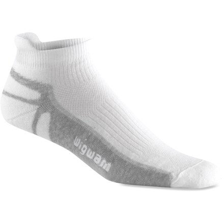 Fitness The Wigwam Ironman Thunder Pro men's white socks have cushioned soles and highly moisture-absorbent characteristics, and defend against foot odors. dri-release(R) is a blend of natural and man-made fibers that work together to absorb and move moisture away from the skin; it dries more rapidly than other fibers. Acrylic absorbs moisture for quick dissipation; in addition to superior insulative qualities, this acrylic contains chitosan, which helps defend against odors. FreshGuard elements are permanently embedded in dri-release fabric; they absorb moisture and quickly push it through the fabric into the air to further minimize odor creation. Foot-hugging fit helps deter blisters while enhancing comfort; stretch fabrics ensure socks stay in place. Wigwam Ironman Thunder Pro socks have a comfortable seamless toe enclosure. *Discount will be applied when you check out. Offer not valid for sale-price items ending in $._3 or $._9. - $12.00