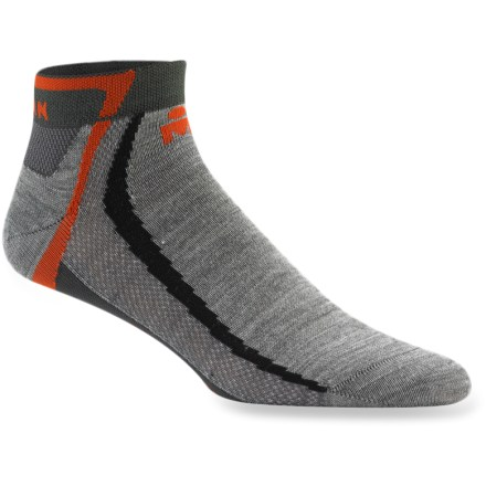 Fitness The Wigwam Ironman Endur Pro socks are extremely lightweight and breathable. They're perfect for for minimalist runners who want just a little something between their feet and their shoes. Fabric repels moisture, prevents blisters and reduces odors. Nylon is a strong, versatile hard-wearing fiber; and the stretch makes them fit like a soft glove. Acrylic absorbs moisture for quick dissipation; in addition to superior insulative qualities, this acrylic contains chitosan, which helps defend against odors. Wigwam Ironman Endur socks have a seamless toe closure to prevent irritation. *Discount will be applied when you check out. Offer not valid for sale-price items ending in $._3 or $._9. - $11.00
