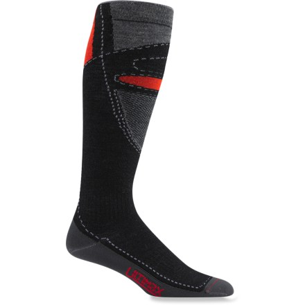 Ski The Wigwam Snow Blitz Pro socks are ultra lightweight and keep feet dry to prevent them from becoming cold. Ultimax(R) Pro fabric wicks moisture to keep feet dry, resists odors, fits snugly and keeps feet warm; it moves moisture from the bottom to the top where it can evaporate. Elasticized ankles and arches and stay-put legs keep socks from sagging. Wigwam Snow Blitz Pro socks feature seamless toe closures for enhanced comfort. *Discount will be applied when you check out. Offer not valid for sale-price items ending in $._3 or $._9. - $14.93