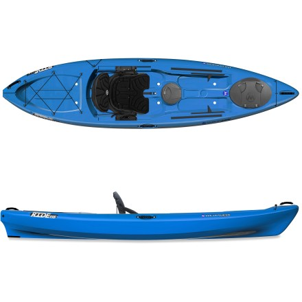 Kayak and Canoe Less than 12 ft. long, the versatile Wilderness Systems Ride 115 sit-on-top kayak is packed with features to rival any longer sit on top. The Ride 115 offers enough stability to stand up if desired, and wide foot areas on deck make it easy to get onto your feet confidently. 11 ft. 6 in. length is easy to carry, store and maneuver on the water, and 500 lb. capacity lets you bring along lots of gear. Performance-oriented hull increases boat's speed and stability, helping it track straight as you explore inland waterways, flatwater and coastal areas. High-density polyethylene construction offers performance, durability and low maintenance. Breathable, padded seat adjusts forward and backward, and leg lifters and large backrest enhance comfort. The seat may be completely removed for use as a beach chair when off the water. Footbraces are easy to adjust by hand and stand up to tough conditions. Orbix bow and midship hatches let you store gear away from splashes. Orbix hatch cover features a hinged design and locking lever; to open hatch, simply slide lever to unlock cover and flip open to access gear. Stern tank well with bungee rigging holds a dry bag or tackle box secure. Molded cup holder with drain keeps hydration close at hand. Includes a paddle holder, self-bailing scupper holes, recessed deck fittings, a skid plate and a drain plug. Comfort carry handles at bow, stern and sides make transporting the 76 lb. Ride 115 kayak easy. - $869.00