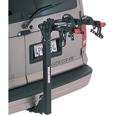 Fitness The KingPin 4 bike rack easily transports 4 bikes to your riding destination. Fits all types of bicycles; dual-arm design eliminates the need for top-tube adapters on most bikes. SwitchBlade anti-sway bike cradles eliminate bike-to-bike contact and bike-to-vehicle contact. 3 ChainStraps anchor each bike in place, quickly adjust for perfect bike spacing and lock down when in use. Tilt-down mast tilts out of the way to provide limited access to back of vehicle; not designed to tilt when bikes are on mast. Durable, strong and lightweight oversize tube construction. Fits 1.25 in. and 2 in. receiver hitches; designed for Class II hitches and higher. Closeout. - $148.93