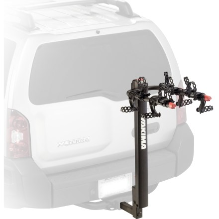 Fitness The Yakima DoubleDown hitch rack securely transports up to 4 bikes and offers easy access to the rear of your vehicle. Once bikes are removed, tilt-down mast tilts rack out of the way to provide access to the back of your vehicle. Fits most bikes but adapter (not included) may be required for women's or kids' bikes; not designed for use with tandem or recumbent bikes. SwitchBlade anti-sway bike cradles eliminate bike-to-bike contact and bike-to-vehicle contact. ChainStraps on each cradle securely anchor bikes into place. Intuitive levers with anti-pinch trigger covers make folding cradle arms and mast a simple endeavor. Cradle arms can be lowered when not in use. Fits 2 in. and 1.25 in. receiver hitches; designed for Class II hitches and higher. Overstock. - $185.93