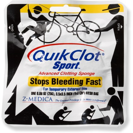 Camp and Hike A must for any first aid or emergency kit-this 25g bag of Quikclot(R) Sport stops moderate to severe bleeding until further medical help is available. Quikclot is a chemically inert material in a mesh bag that speeds coagulation of blood, resulting in a stable clot that stops bleeding. Stops bleeding quicker than conventional methods and is safe to leave on wounds until more advanced medical help arrives. Package contains a 3.5 x 3.5 in. (25g) bag of Quikclot. - $12.95