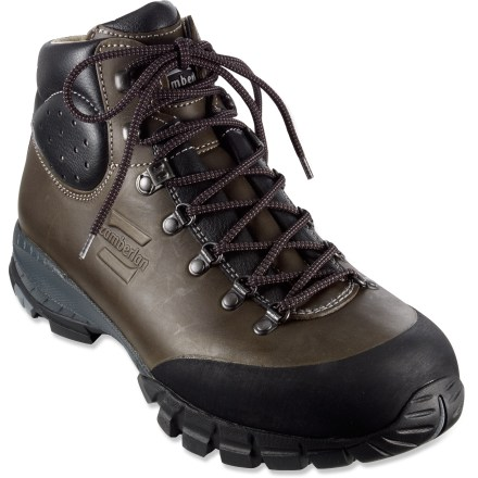 Camp and Hike The Zamberlan Trekker backpacking boots are lightweight, sturdy and provide ample support for fun summer adventures in the backcountry. Full-grain leather uppers excel at supporting and protecting your feet; Hydrobloc(R) wax treatment is highly water resistant, causing water to bead up and roll off. Rubber toe rands help protect uppers and feet for increased longevity and comfort. Padded ankle construction facilitates comfortable flex without reducing support. Supple leather-lined heel pockets and Cambrelle(R) nylon lining in the forefoot area enhance comfort and moisture control. Polypropylene midsoles provide all-day cushioning while polyurethane plates enhance torsional rigidity and stability on uneven terrain. Vibram(R) rubber outsoles deliver reliable traction on rough ground. - $167.93