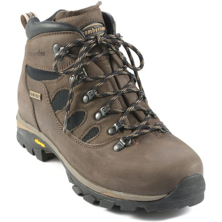 Camp and Hike Light, fast and sturdy, the Zamberlan 298 Tundra GT boots are built for covering miles with medium to heavy loads without compromising feel and comfort. Durable, lightweight Hydrobloc(R) nubuck leather uppers offer flexibility and support; Cordura(R) nylon panels enhance breathability and help keep weight low. Seam-sealed Gore-Tex(R) liners protect feet from wet weather and allow excess moisture vapor to escape, keeping feet dry and comfortable. Padded and gusseted tongues relieve lace pressure across insteps and keep out trail debris; heel loops aid entry. Soft, comfortable foam padding over tongues, cuffs and heels enhances comfort and helps secure feet inside boots. Removable, moisture-wicking insoles are anatomically shaped for extra comfort. Zamberlan Air System construction reduces weight and dramatically increases breathability for great comfort and performance. Lightweight EVA midsoles provide all-day cushioning. Polypropylene stabilizers and nylon shanks enhance rigidity and stability on uneven terrain. Long-lasting Vibram(R) Zamberlan Revolve rubber outsoles on the 298 Tundra GT boots offer reliable traction on varying terrain. - $167.93