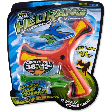 Camp and Hike The Zing Helirang Outdoor Boomerang Helicopter is easy to throw and catch. Young and old alike will enjoy hours of fun with its swooping arc and a flight path that brings it right back to you! To throw, hold Helirang by the rotor (with curved edge facing left) at 90deg to the ground, toss forward with a smooth, strong motion and release with a snap of the wrist. Soft foam construction is durable, safe and easy on your hands. Out-and-back trajectory makes a 40-ft. swooping arc. Easy to catch with 1 or 2 hands. The Zing Helirang Outdoor Boomerang Helicopter includes full instructions on the packaging. - $9.93