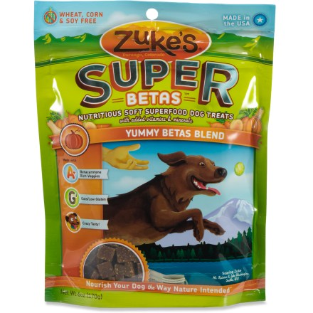 Fitness Zuke's Super Betas dog treats are nutritious and delicious. Whether it's an afternoon of high-flying jumps or running circles in the backyard, dogs need superfoods to help keep them going. Support your dog's healthy lifestyle with the naturally powerful nutrients and antioxidants found in superfood betas. Special blend of pumpkin, apricot, sweet potato, butternut squash and carrot is rich in betacarotene. - $7.00