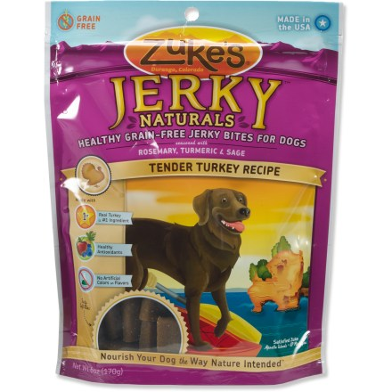 Camp and Hike The Zuke's Jerky Natural dog treats are made of the finest natural ingredients. These bite-size bits of jerky supply your active dog with many essential vitamins and minerals. No added animal fat, tallow, BHA /BHP preservatives, artificial color or flavors. Zuke's Jerky Natural dog treats come in a handy resealable package. - $8.00