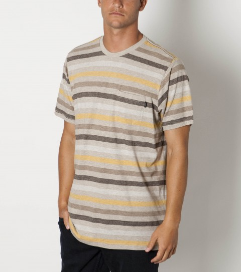 Surf O'Neill Collapse Shirt.  100% Organic cotton.  Jersey heather y/d stripe knit crew with heavy enzyme / silicone softener wash. Standard fit; pocket with logo embroideries and ECO'neill labels. - $19.99