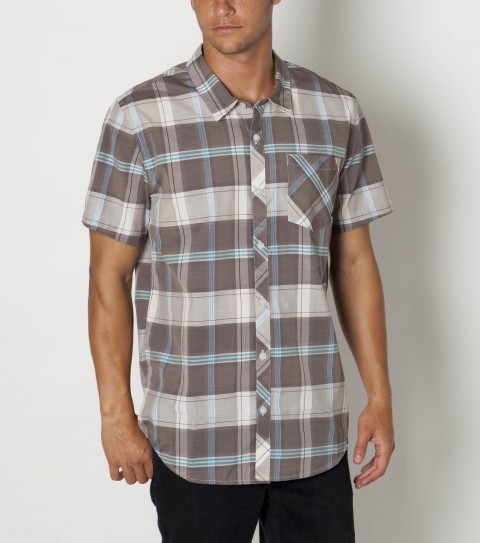 Surf O'Neill 100% cotton plaid short sleeve shirt with mill finish and bio wash. Modern fit with logo embroideries and labels. - $45.00