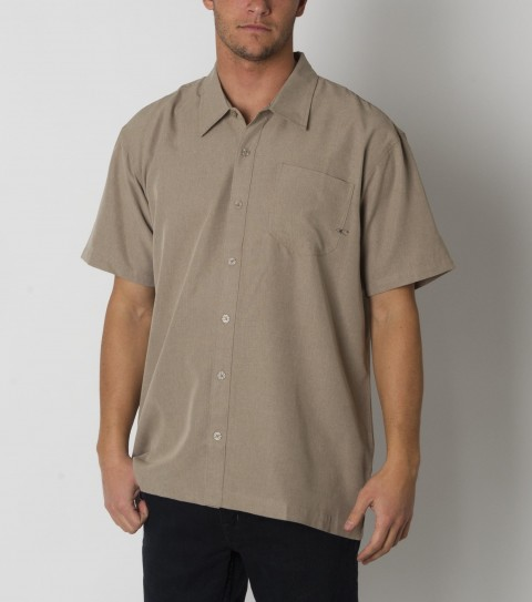 Surf O'Neill Barton Polynosice Shirt.  Polynosic blend solid heather S/S woven with sand wash. Logo  embroideries and labels. - $49.50