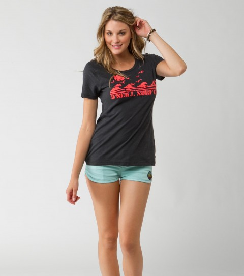 Surf O'Neill Old School Tee.  100% Cotton.  Vintage slub cruiser tee with neon inks (washed black). - $20.99