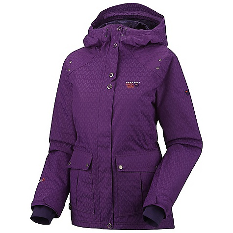 Free Shipping. Mountain Hardwear Women's Miss Snow It All Jacket DECENT FEATURES of the Mountain Hardwear Women's Miss Snow It All Jacket Attached, adjustable, helmet compatible hood Attached, adjustable stretch powder skirt Plenty of interior pockets for all your gear One-handed hood and hem drawcords for quick adjustments Soft,in.Butter Jerseyin. cuffs Zip handwarmer pockets Micro-Chamois-lined chin guard eliminates zipper chafe The SPECS Average Weight: 2 lbs 4 oz / 1.02 g Center Back Length: 30in. / 76 cm Body: Chevron Insulation: 80g Thermic Micro - $274.95