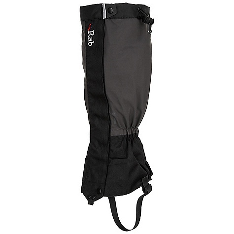 Rab Hispar Gaiter DECENT FEATURES of the Rab Hispar Gaiter Event fabric outer 600D Ballistic polyester ankle Elasticated ankle YKK front zip closure with protective Velcro flap Rubberised abrasion resistant underboot strap Drawcord top closure Traditional lace hook Reflective piping detail This product can only be shipped within the United States. Please don't hate us. - $40.00