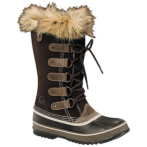 The Sorel Women's Joan of Arctic Boot is a casual boot that can handle deep winter Snow. Trudge your way to work without looking like the abominable Snowman and instead don the full-grain leather and suede. Waterproof throughout, the boot keeps your feet dry as well as your pant legs. The 6mm recycled felt inner boot with faux fur Snow cuff warms while adding a classy touch around your leg. The vulcanized rubber shell completes in a herringbone Outsole for traction on ice and Snow, whatever the city streets have to offer. Moosejaw Staff Pick - Toni, Moosejaw Secret HeadquartersFeatures of the Sorel Women's Joan of Arctic Boot Upper: Waterproof suede leather Upper. faux fur Snow cuff. Seam sealed waterproof construction Insulation: Removable 6 mm washable recycled felt inner boot Midsole: 2.5 mm bonded felt frost plug Outsole: Handcrafted waterproof vulcanized rubber shell with herringbone Outsole - $118.99