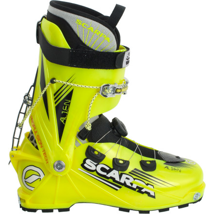 Ski Descended from the F1, the Scarpa Alien Alpine specializes in enabling traverses at record-breaking speeds. Polyamide offers a lightweight and stiff alternative to comparable boots, while a single-lever forward speed lock gives you ease of use matched only by your favorite gravity-propelled planks. - $798.95