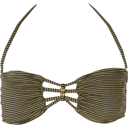 Surf Pour on the glam when you arrive poolside wearing the Reef Kennaway Underwire Bikini Top. Bands of metallic thread on this this bandeau top with molded soft cups catch the light and add to your dazzling aura, stunning hapless male bystanders and bending them to your will. - $17.48
