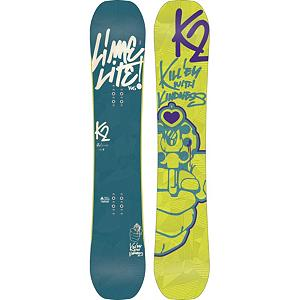Snowboard K2 Lime Lite Womens Snowboard - The K2 Lime Lite is center stage in terms of women freestyle. From the minds of Leanne Pelosi comes the Lime Lite which is made for women that ride the whole mountain with a freestyle mind-set. The Lime Lite comes packed with the Rhythm core and Jib Rocker Tweekend Baseline which combines the perfect balance between maneuverability and jib feel and grip. Carbon Web brings endless pop and snap of carbon closer to your bindings for maximum ollies and control in every situation. The K2 Lime Lite kills with kindness while setting the bar for womens freestyle . Actual Turn Radius @ Specified Length: 7.4m(@146cm), Base Name: 2000 Extruded Base, Core Name: Rhythm Core with Carbon Web I, Stance Width: 19-21mm, Stance Setback: Centered, Special Features: Hybritech, Construction Type: Sidewall Construction, Base Material: Extruded P-tex, Warranty: One Year, GTIN: 0714636981281, Model Number: B120202001146, Skill Level: Intermediate, Gender: Womens, Shipping Restriction: This item is not available for shipment outside of the United States., Product ID: 281697, Model Year: 2013, Skill Range: Intermediate - Advanced, Magnatraction: No, Hole Pattern: Standard 4 Hole, Core Material: Wood with Carbon, Rocker Type: Jib Rocker Tweekend, Board Width: Regular, Pipe Oriented: No, Flex: Soft, Shape: Twin, Rocker Profile: Rocker, Waist Width: 240mm (@146cm), Snowboard Best Use: Freestyle - $199.89