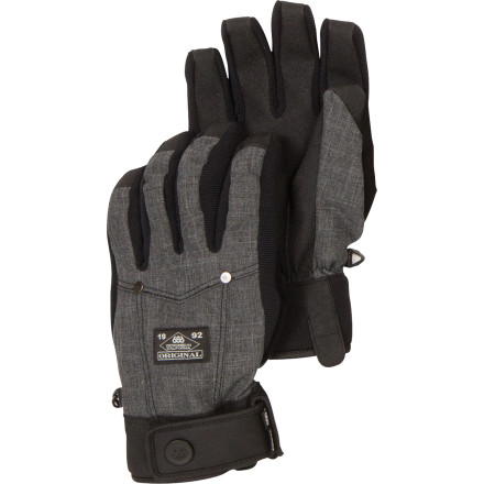 Snowboard The 686 Transit Insulated Glove features an Infidry membrane and synthetic insulation to keep your mitts cozy on cold, wet days, and the denim-style fabric gives it a classic American look. So next time you're in the Alps, everyone will know what your true colors are. - $27.50