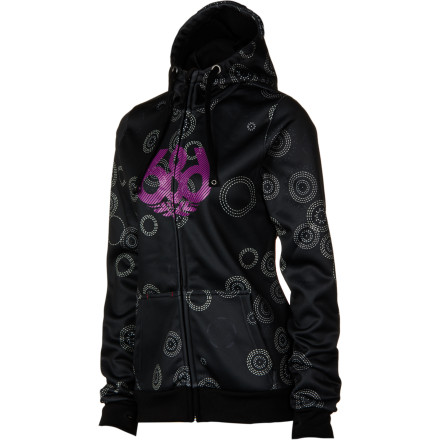 Stop ending up cold and wet at the end of the day with the 686 Icon Women's Bonded Tech Fleece Full-Zip Hoodie. The Techfleece polyester fabric wicks moisture away from your skin to keep you dry and warm whether you're layering underneath a jacket on pow days or rocking it on the outside on sunny spring days. - $52.00