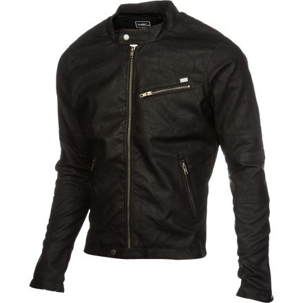 Skateboard Are motorcycles the new skateboards It's entirely possible. The Ambig Mr. Young jacket gives you a timeless moto-jacket look, complete with distressed pleather outer fabric and exposed metal zippers. - $78.37