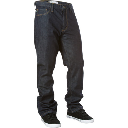 A DWR treatment gives the Analog Summit Winter Denim Pants a technical edge over everyday, boring jeans. Moisture beads up and rolls off these super-power pants to keep you dry if you get caught in the snow. It's like a secret weather-fighting weapon in your pants. - $43.73