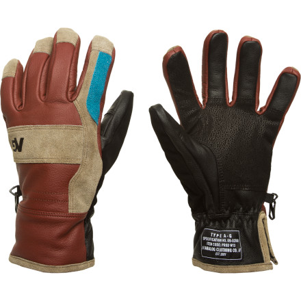 Snowboard With a bomb-proof buffalo leather shell, lightweight synthetic insulation, and low-pro style, the Analog Commission Glove is primed and ready for all-out winter warfare at your local terrain park, secret pow stash, or street spot. - $46.72