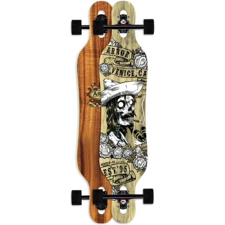 Skateboard The Arbor Genesis Koa Longboard features a versatile twin shape that's lightweight, responsive, and smooth-riding. Cruising, commuting, or practicing pendulum slides in an empty parking garagethe Genesis does it all and begs for more. - $188.97