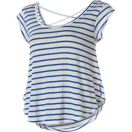 Surf Nautical stripes, a lightweight material, and spaghetti straps at back make the Billabong Dreaming Big Shirt a perfect piece for summer daydreaming. - $23.77