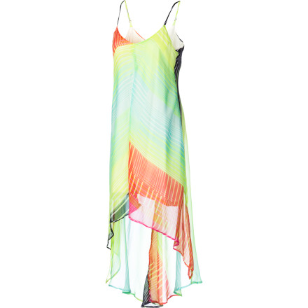 Surf Blow in like a cool ocean breeze in the ethereal chiffon Billabong Women's La Brisa Dress, with flirty high-low hem and groovy chevron print. Adjustable spaghetti straps and mini-length lining give you fine fit and coverage, so you can kick back and chill without overexposure. Versatile enough for a picnic, beach outing, or uptown soiree, this frock pleases the crowds from coast to club. - $49.45